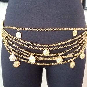 Celine Gold Tone Medallions and Charms Chain Belt